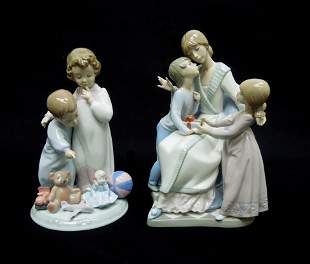 (2) Lladro Porcelain Figures, Gift of Love & Thank You