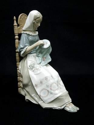 Lladro Porcelain Figure, Insular Embroidress.