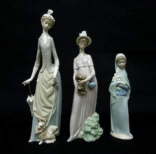 (3) Lladro Porcelain Figures.