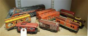 (9) Vintage Metal Model Trains and Carriages.