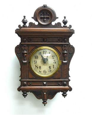 Late 19th C. Bavarian 8-day Wall Clock.