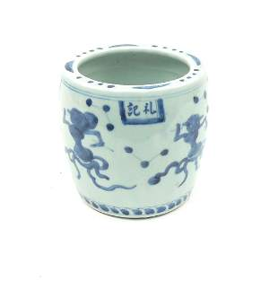 Chinese Blue and White Porcelain Barrel Form Vessel.