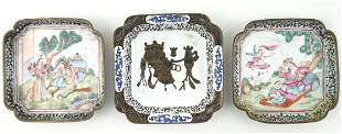 (3) Chinese Enamel Small Dishes.