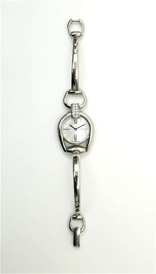 Gucci Horsebit Diamond Stainless Steel Watch.