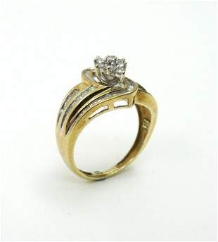 10K Yellow Gold and Diamond Ring.