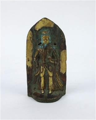 Patinated Gilt Bronze Buddha, Tang-Wei Style.
