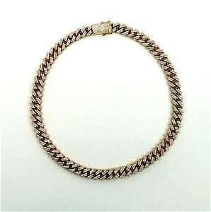 Cuban Link Rose Gold  & Diamond Necklace.