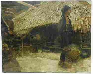 Xiang Chunsheng Oil on Canvas, Villager by the Hut.