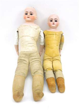 (2) German Bisque Head Dolls with Leather Bodies.