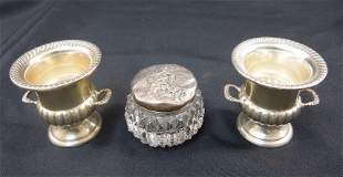 (2) M. Fred Hirsch Sterling Cups and A Sterling Lidded