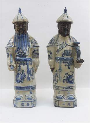 (2) Chinese Blue and White Porcelain Scholar Figures.