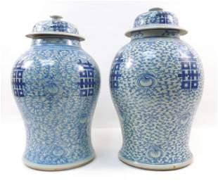 (2) Chinese Porcelain Blue & White Ginger Jars.