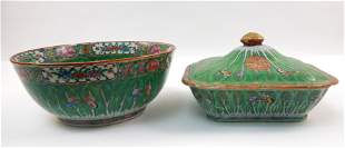 Chinese Famille Rose Bowl and a Covered Dish.