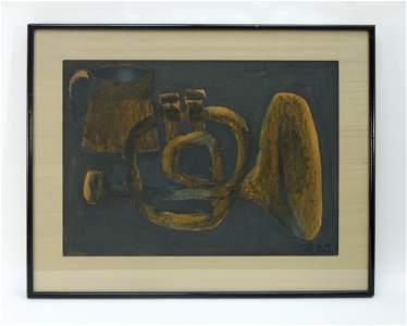 Fernando Botero Gouache and Graphite, Still Life.