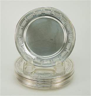(12) Frank M. Whiting Sterling Silver Dessert Plates.