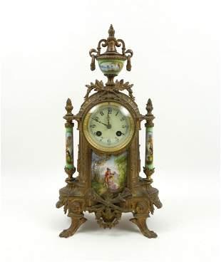 19th C. French Gilt Bronze Mantel Clock.