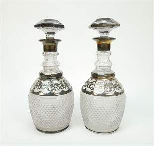 Pair of Continental Silver Overlay Crystal Decanters.