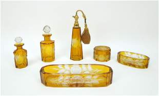 Group of Vintage Etched Amber Glass Dresser Items.