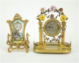 (2) Continental Vintage Enameled Desk Clocks.