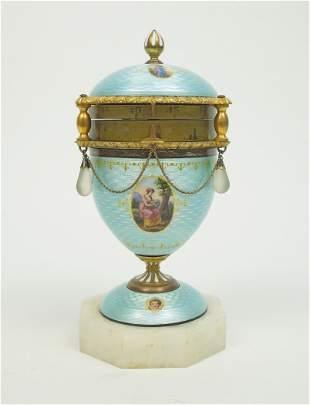 Continental Guilloche Enamel Annular Clock.