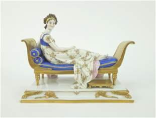 Scheibe-Alsbach Porcelain Figure, Madame Recamier.