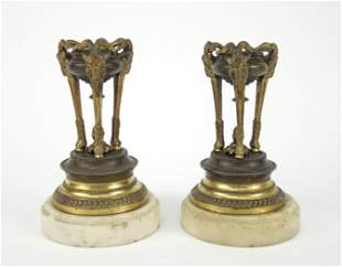 Pair of Continental Bronze Small Candle Holders.