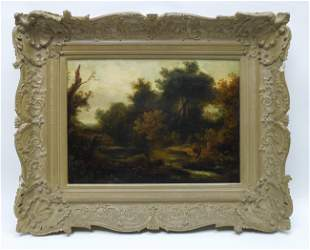 Early 20th C. Oil Painting, Cow by the Stream.