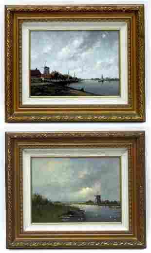 (2)  Wilhelmus Salm Oil Paintings on Board.