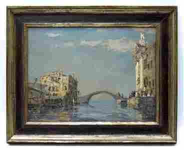 Venetian Oil on Board, View of the Sea with Bridge.