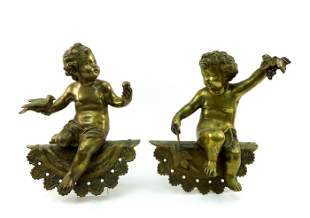 (2) Early 20th C. Brass Cherub Wall Sconces.