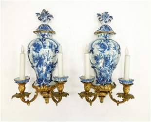 Pair of Early 20th C. Porcelain & Gilt Wall Sconces.