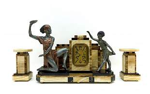 Paul Barry Art Deco Marble Clock Suite.