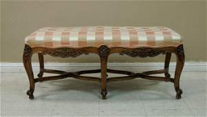 French Louis XV Style Upholstered Bench, 19th C.
