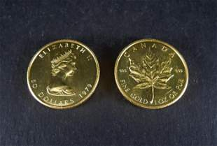 (2) 1979 Canada Maple Leaf $50 Gold Coins.