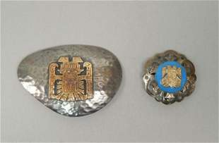 (2) Peru Sterling Silver and 18K Gold Brooches.