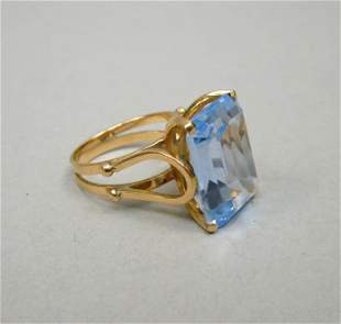 Gold Ring with Emerald Cut Light Blue Stone.