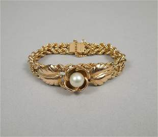 Yellow Gold Double Rope Bracelet with Pearl.