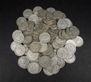 (100) Franklin Silver Half Dollars.
