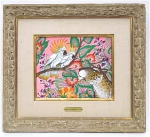 Gustavo Novoa Acrylic on Board, Leopard, Birds,