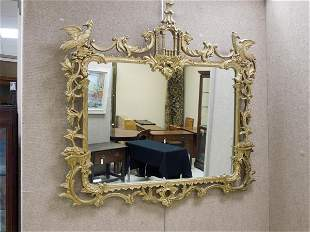 Gilt Chippendale Chinoiserie Style Wall Mirror.