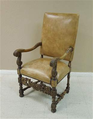 19th C. Carved Walnut and Leather High Chair.