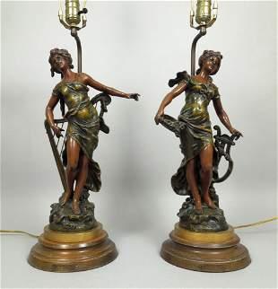 (2) Louis & Francois Moreau Bronze Figural Lamps.