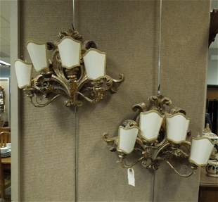 Pair of Baroque Style Gilt Wood Wall Sconces.
