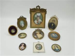 (10) Vintage Miniature Framed Portraits.