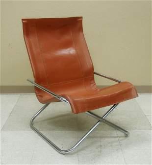 Mid 20th C. Modern Chrome & Leather Chair.