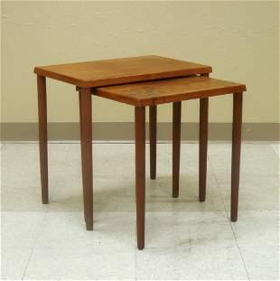 (2) Mid 20th C. Modern Teak Nesting Tables.