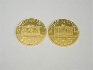 (2) Austria Philharmonic 2009 1 Oz. Gold Coins.