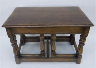Set of (3) 19th C. English Oak Nesting Tables.
