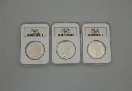 (3) Morgan Silver Dollars. NGC MS-65.