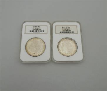 (2) Morgan Silver Dollars, NGC MS-65.